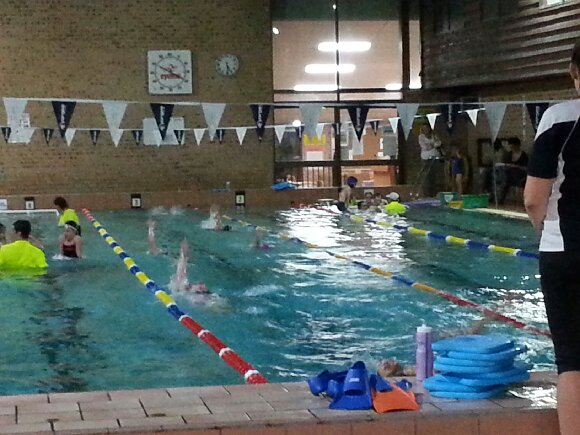 Image of laned swimming pool with flags overhead